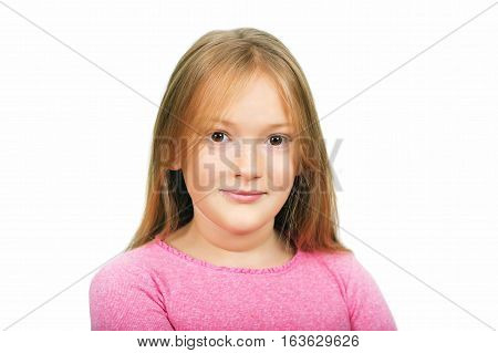 Close up portrait 9-10 year old girl isolated on white background