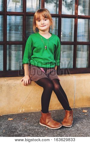 Fashion portrait of adorable 5 year old little girl