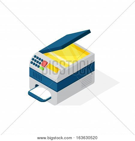 Office equipment printer isometric vector symbols isolated on white. Business modern illustration flat technology workstation. Cabinet tool house industry object.