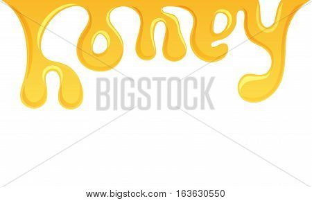 Honey splash letter. Candied splashing vector label. Mead lettering. Sweet pouring vector illustration. Apiary product label. Healthy bee garden food. Candied font, word, logo, packing design