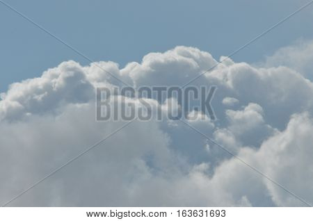 Puffy clouds against a blue sky. Beautiful sunny weather.