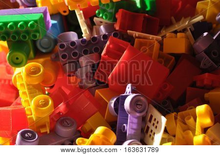Plastic blocks. Toys for children. Building construction.