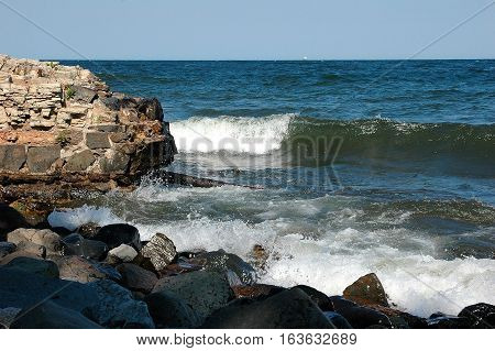 Lake Superior waves breaking on a rocky point