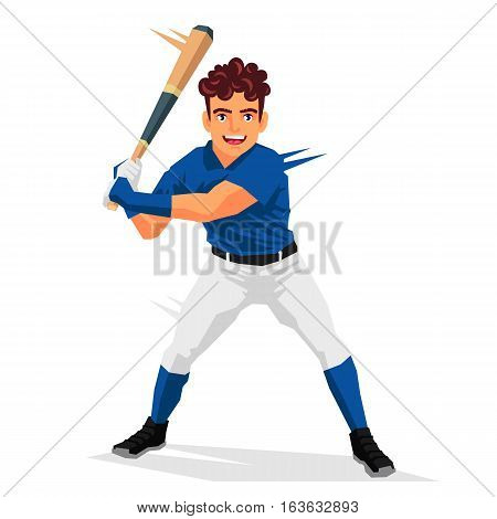 Cool baseball player. Vector illustration on white background. Sports concept.