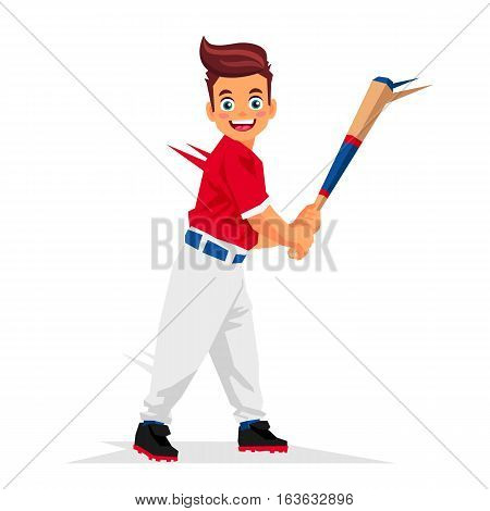 Cool little baseball player. Vector illustration on white background. Sports concept.