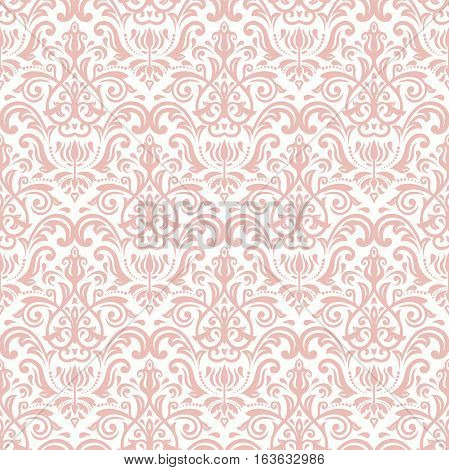 Damask vector classic pink pattern. Seamless abstract background with repeating elements. Orient background