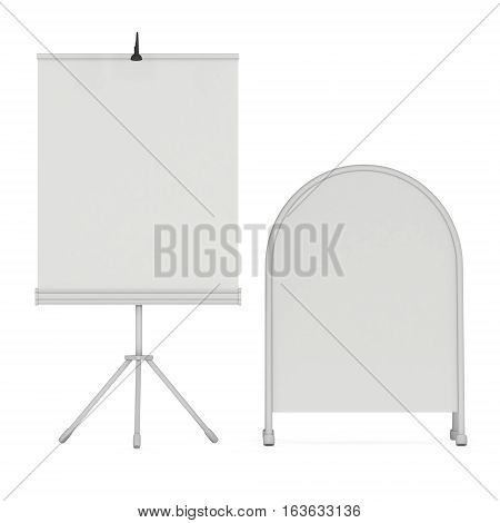 Blank Roll Up Expo Banner Stand and Sandwich board. Trade show booth white and blank. 3d render illustration isolated on white background. Template mockup for expo design. Blank menu outdoor display.