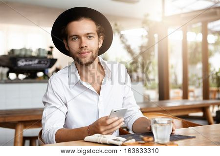 People, Leisure And Modern Technology. Young Student With Happy Look Enjoying High Speed Internet Co