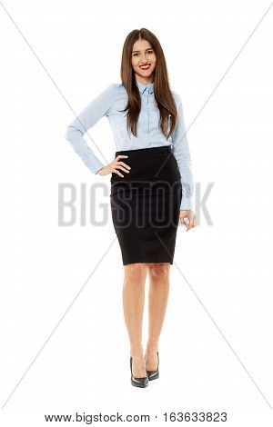 Confident Business Woman Isolated On White