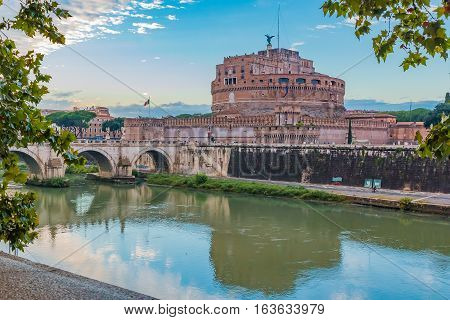 View Of Ponte And Castel Sant'angelo Over Tiber At Sunset