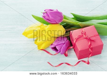 Spring flowers and gift box for March 8 International Womens day, Birthday or Mothers day.