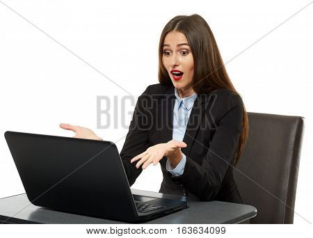 Frustrated Young Businesswoman At Her Laptop
