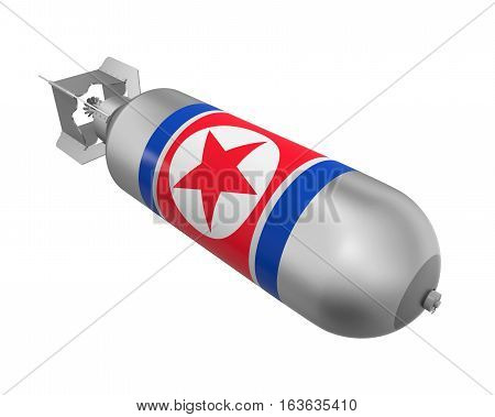 Atomic Bomb with North Korea Flag isolated on white background. 3D render