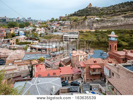 Georgia Tbilisi. View from the fortress Narikala Old City sulfur baths a Muslim mosque .