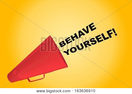 "3D illustration of ""BEHAVE YOURSELF!"" title flowing from a loudspeaker poster"
