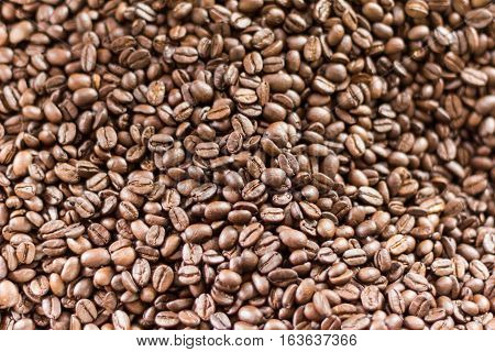 close up pf roasted coffee bean background and texture