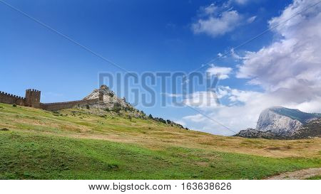 wall of ancient fortress / bright summer landscape travel Crimea