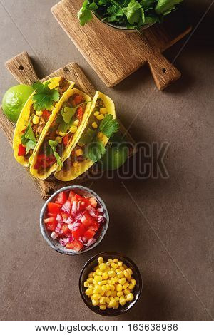 Traditional Mexican Tacos With Tomatoes, Meat, Herbs. Dark Backg