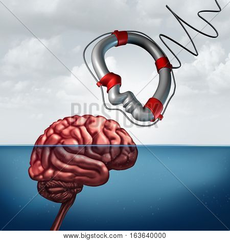 Psychology giving help concept and psychiatry counseling treatment or neurology research as a mental health symbol or education assistance as a lifesaver shaped as a human head with 3D illustration elements.