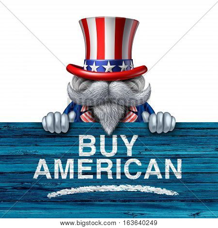 Buy american business concept as a United States of America character holding a patriotic sign with painted text as a marketing campaign for national us economic support for the local economy with 3D illustration elements.