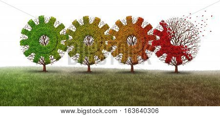 Business decline concept as a group of connected season changing trees shaped as gear or cog machine wheels as an economic metaphor for financial loss with 3D illustration elements.