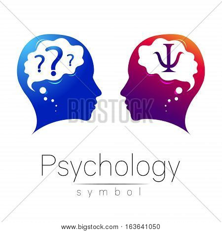 Modern head Logo sign of Psychology. Profile Human. Letter Psi. Creative style. Symbol in vector. Design concept. Brand company. Violet blue color on white background. Icon for web, print, logotype.