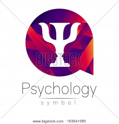 Modern logo of Psychology. Psi. Creative style. Logotype in vector. Design concept. Brand company. Violet color letter on white background. Symbol for web, print, card, flyer. Bright