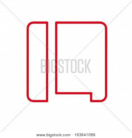 Vector initial letter L. Sign made with red line