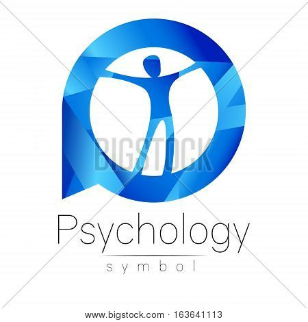Modern man Logo Sign of Psychology. Human in a circle. Creative style. Icon in vector. Design concept. Brand company. Blue color isolated on white background. Symbol for web, print, card, logotype.