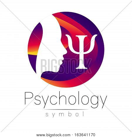 Modern head Logo sign of Psychology. Profile Human. Letter Psi. Creative style. Symbol in vector. Design concept. Brand company. Violet color isolated on white background. Icon for web, print, logotype.