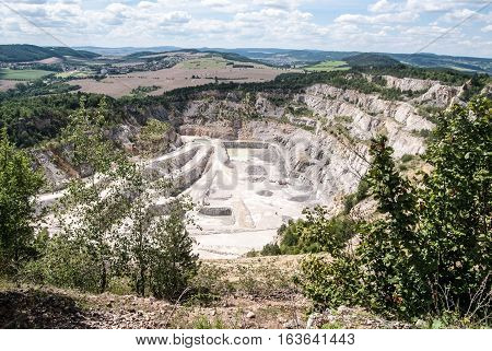 giant Certovy schody limestone quarry near Koneprusy Cave in Cesky kras region in Central Bohemia
