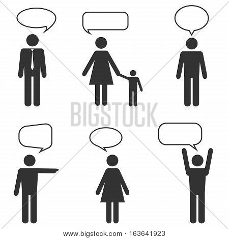 people white icons with speech bubbles isolated on white