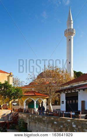 RHODES, GREECE - DECEMBER 05, 2016: Mosque in the historic town of Rhodes on December 05, 2016.