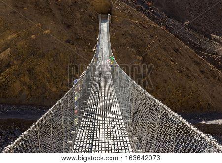 suspension bridge, Himalayas, Annapurna Conservation Area Nepal