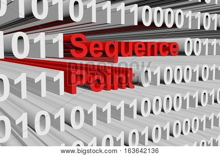 Sequence point in the form of binary code, 3D illustration
