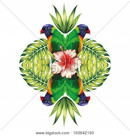 Tropical bird parrot plants and hibiscus flower in the trendy mirror style on white background vector pattern