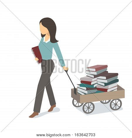 Girl carries a cart with books and education. Vector flat