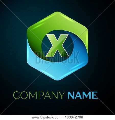 Letter X vector logo symbol in the colorful hexagonal on black background. Vector template for your design