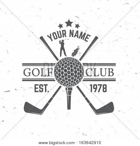Golf club concept with golf ball silhouette. Vector golfing club retro badge. Concept for shirt, print, seal or stamp.