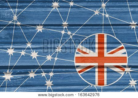 Australia flag design concept. Image relative to travel and politic themes. Molecule And Communication Background. Wood texture. Connected lines with stars.