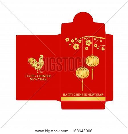 Chinese New Year red envelope flat icon. Vector illustration. Red packet with gold lanterns.