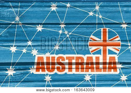Australia flag design concept. Image relative to travel and politic themes. Molecule And Communication Background. Wood texture. Connected lines with stars. Australia text