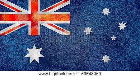 Australia flag design concept. Relief wet stone texture. Image relative to travel and politic themes