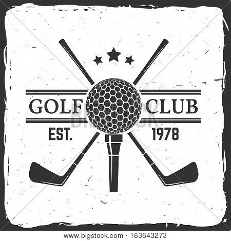 Golf club concept with golf ball silhouette. Vector golfing club retro badge. Concept for shirt, print, seal or stamp. Typography design- stock vector.