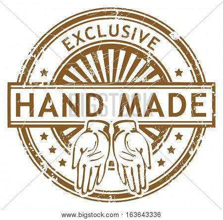 Grunge rubber stamp with small stars and the word Hand Made, Exclusive inside, vector illustration