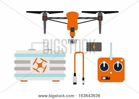 Vector illustration aerial vehicle drone surveillance unmanned innovation.