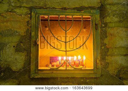 Menorah (hanukkah Lamp), In The Jewish Quarter, Jerusalem
