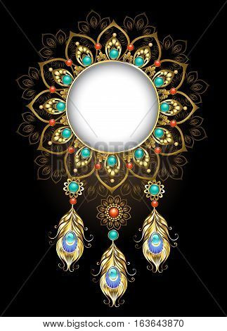 Round jewelry banner made in the ethnic style is decorated with precious gold peacock feathers. Jewelry Design.