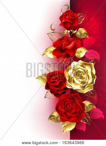 Design with red and gold roses on a white and red background. Design with roses.