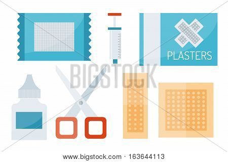 First aid kit isolated on white background. Medical symbols emergency sign cross first sterile bandages. Assistance clinical equipment case safety sign.